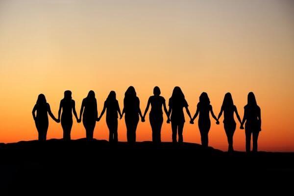 Women and sunset