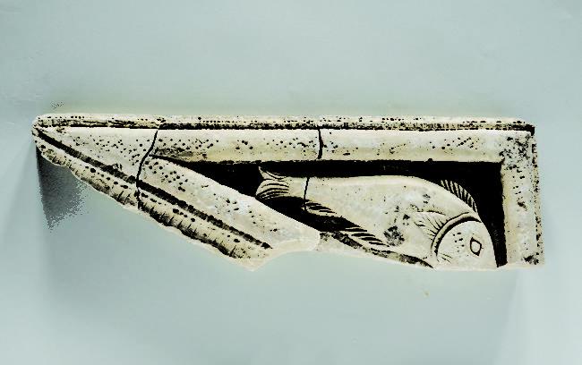 Τμήμα λίθινου θωρακίου με ψάρι, Ελεύθερνα, 5ος/6oς αι. μ.Χ.