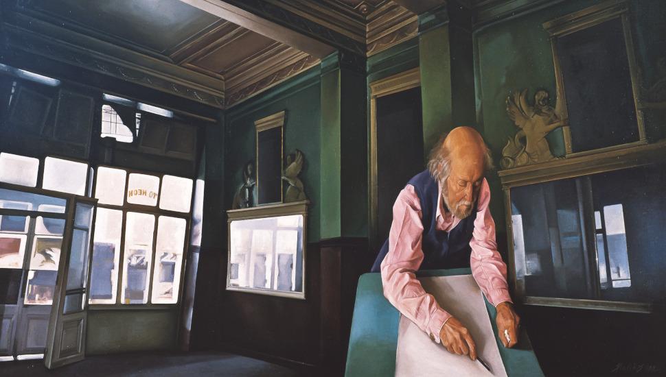 Ο Γιάννης Τσαρούχης στο καφενείο Το Νέον, 1989, λάδι σε καμβά, 120 x 200 εκ