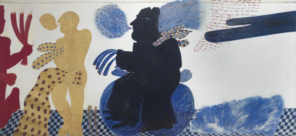"""Αλέκος Φασιανός """"Petite suite anachronique ou la vie d'anastasios en 24 heures"""" oil on canvas heightened with gold, 1970"""