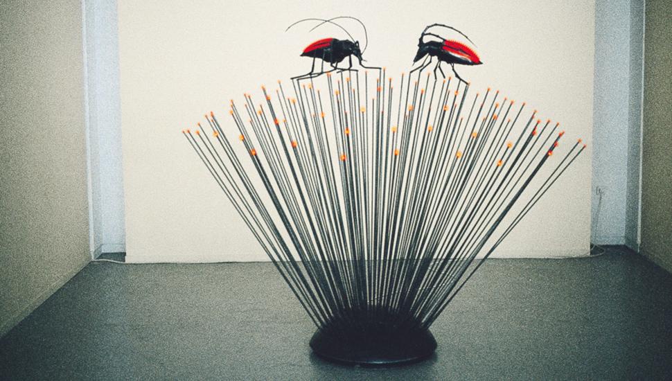 Αφροδίτη Λίτη / Λουλούδι με ζευγάρι εντόμων, μέταλλο, ηλεκτρικές λυχνίες, 180x180x170, 1999