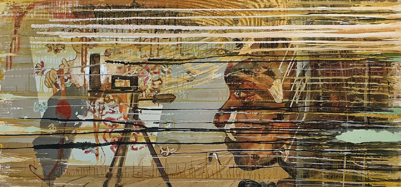 Haralabos Katsatsidis,  The Photographer,  oil on canvas,  100 x 200 cm,  2015