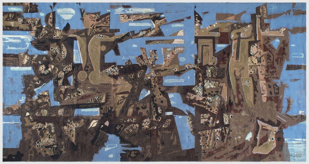 Γιάννης Μόραλης |  Βυθισμένη πολιτεία, 1965. Ταπισερί 224 x 425 εκ. Συλλογή Εθνικού Κέντρου Κοινωνικής Αλληλεγγύης.
