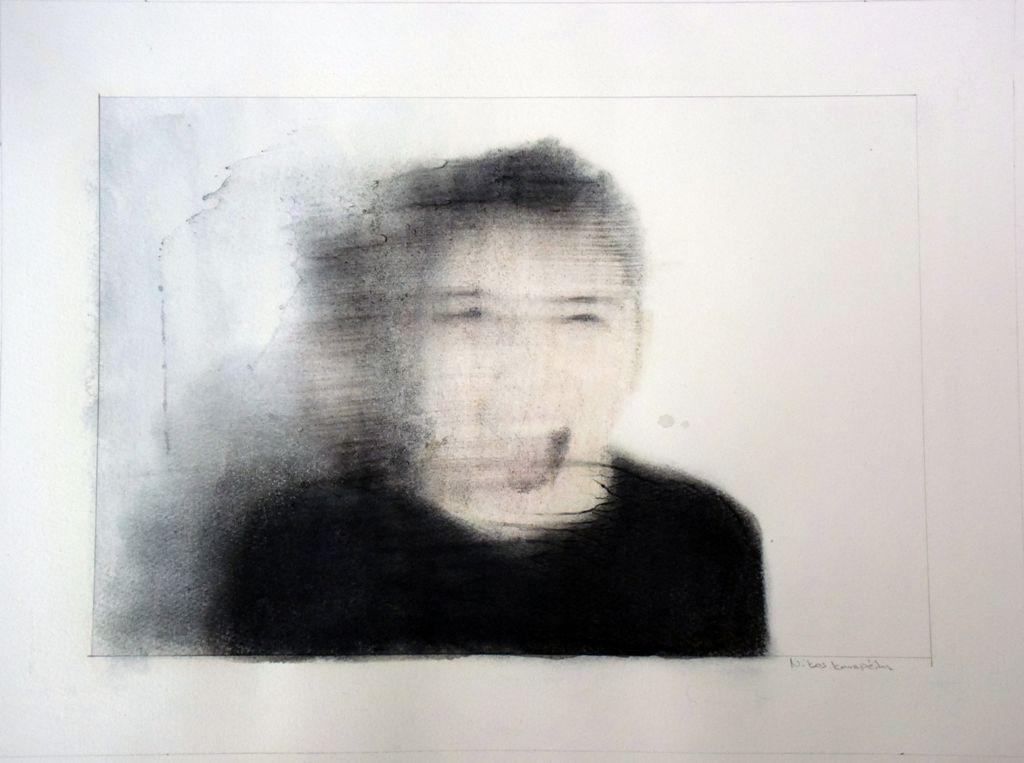 Νίκος Καναρέλης, «Angry 01», 2019, μελάνη, χρωματιστά μολύβια, γραφίτης σε χαρτί, 34 x 45 εκ.
