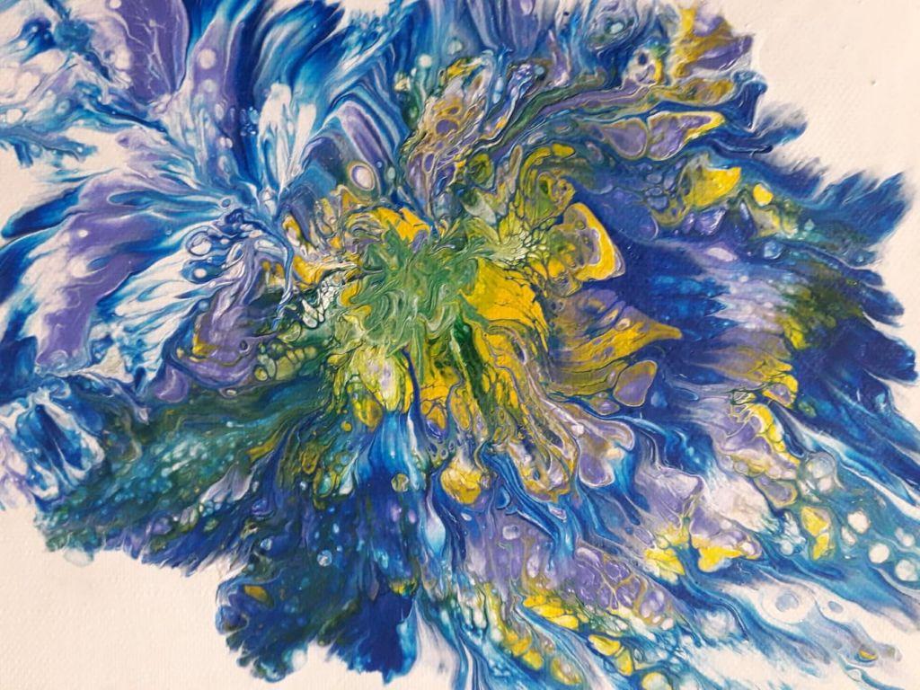 Μαρκέλλα Κομπίτσα, Πολύχρωμο λουλούδι, 18x24cm, Μικτή τεχνική.