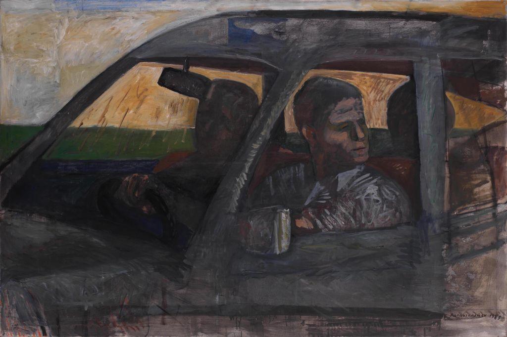 «In the Car», Κώστας Παπανικολάου. 1985, λάδι σε καμβά, 120x180cm.