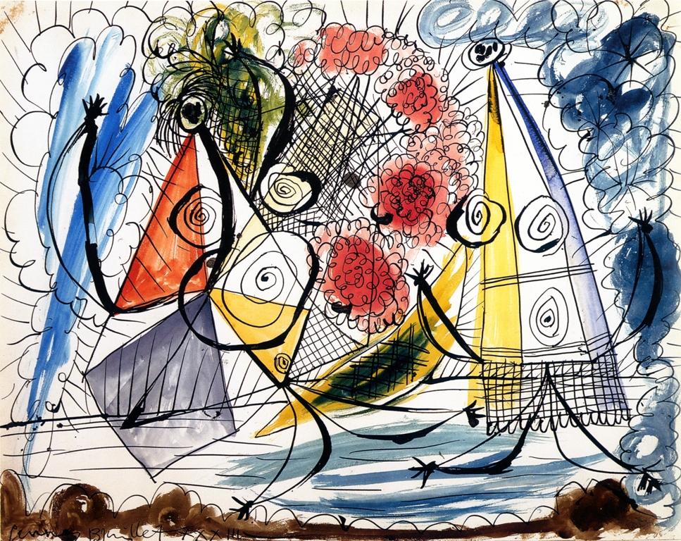PICASSO Pablo - Composition MZ 197 Pablo Picasso, Σύνθεση, 1933, πένα και ακουαρέλα σε χαρτί, 40.1x50.6 εκ., Musée Zervos, Vézelay.  © Succesion Picasso 2019.