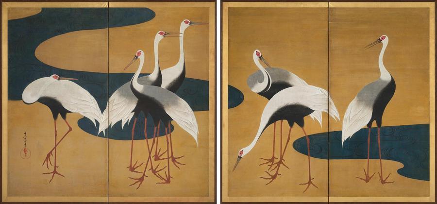 Suzuki Kiitsu, Γλάροι , ιαπωνική τέχνη περίοδος Edo, 1820 – 25
