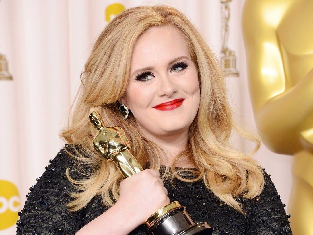 Η Adele κρατά περήφανα το Όσκαρ της
