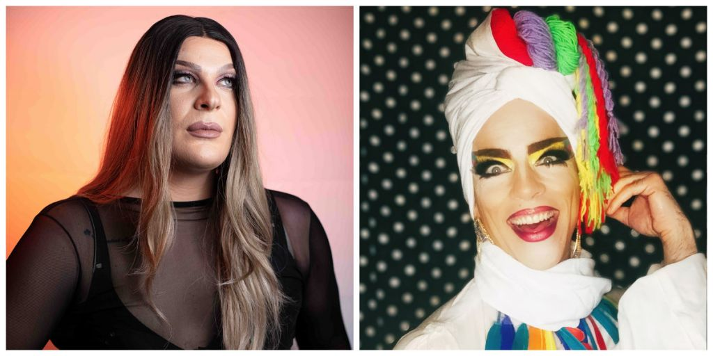 Από αριστερά οι drag performers: Queen Barbie και Mary Sunshine