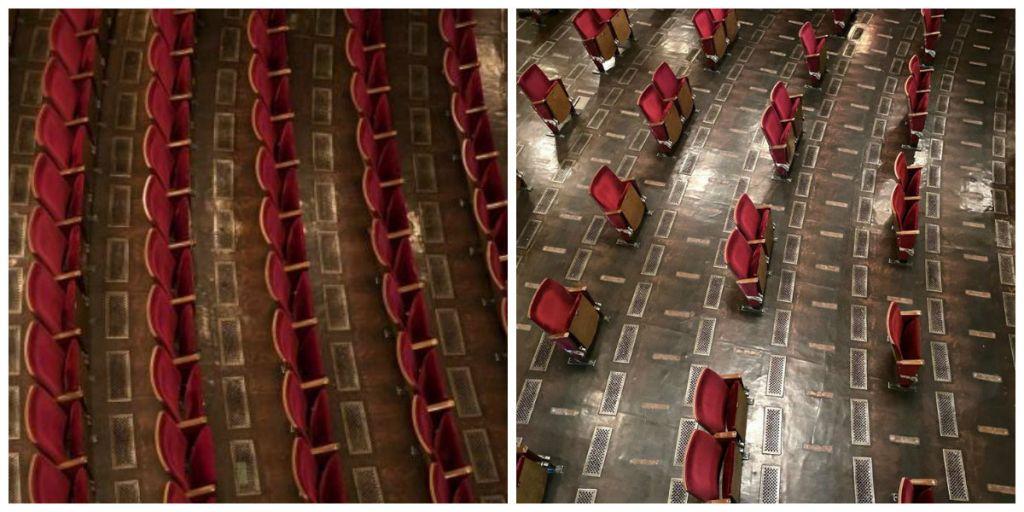 Η πλατεία του θεάτρου πριν και μετά τις αλλαγές στη διάταξη των θέσεων