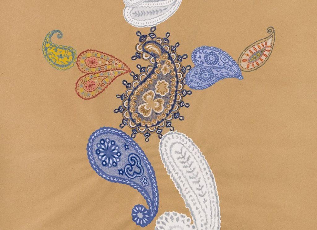 Λεπτομέρεια από το έργο «Mrs Paisley», χρωματιστό μολύβι σε χαρτί,100 x 88 εκ