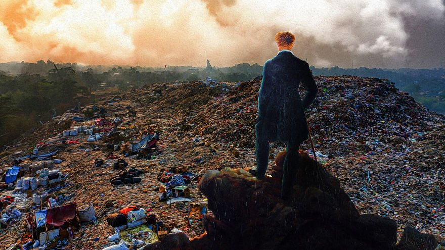 """ο """" Περιπλανώμενος """" του Friedrich βλέποντας την θάλασσα, την οποία θαυμάζει, γεμάτη σκουπίδια. (""""La Trash Époque"""")"""