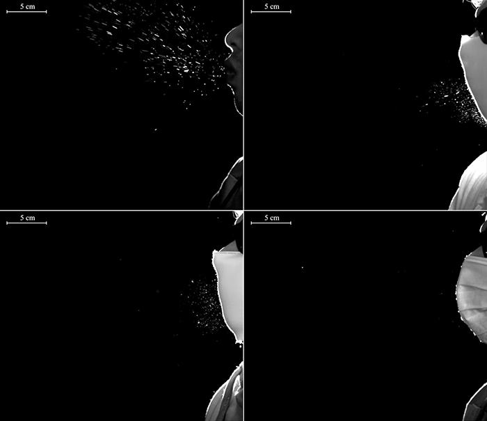 Οι ερευνητές κατέγραψαν σε βίντεο ανθρώπους που μιλούσαν, έβηχαν και φτερνιζόντουσαν εφαρμόζοντας τρία διαφορετικά σενάρια