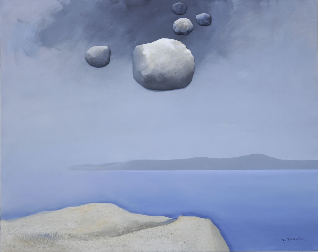 «Θαλασσογραφία», 2020, ακρυλικό σε καμβά, πέτρες, καθρέφτης, 220χ160 εκ.