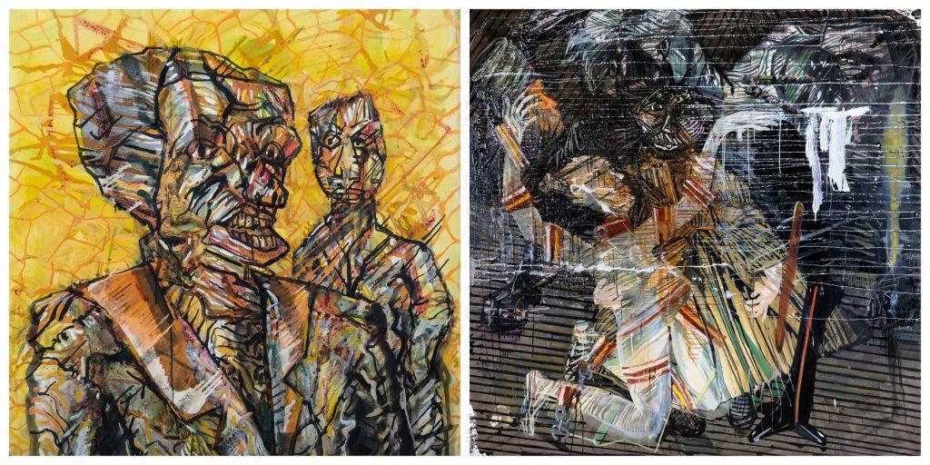 Αριστερά: «Meteora», 100 x 100 εκ., λάδι σε καμβά, 2018   Δεξιά: «Salome's last dance», 200x200cm, λάδι σε καμβά, 2016-17, Συλλογή Πινακοθήκης Βογιατζόγλου