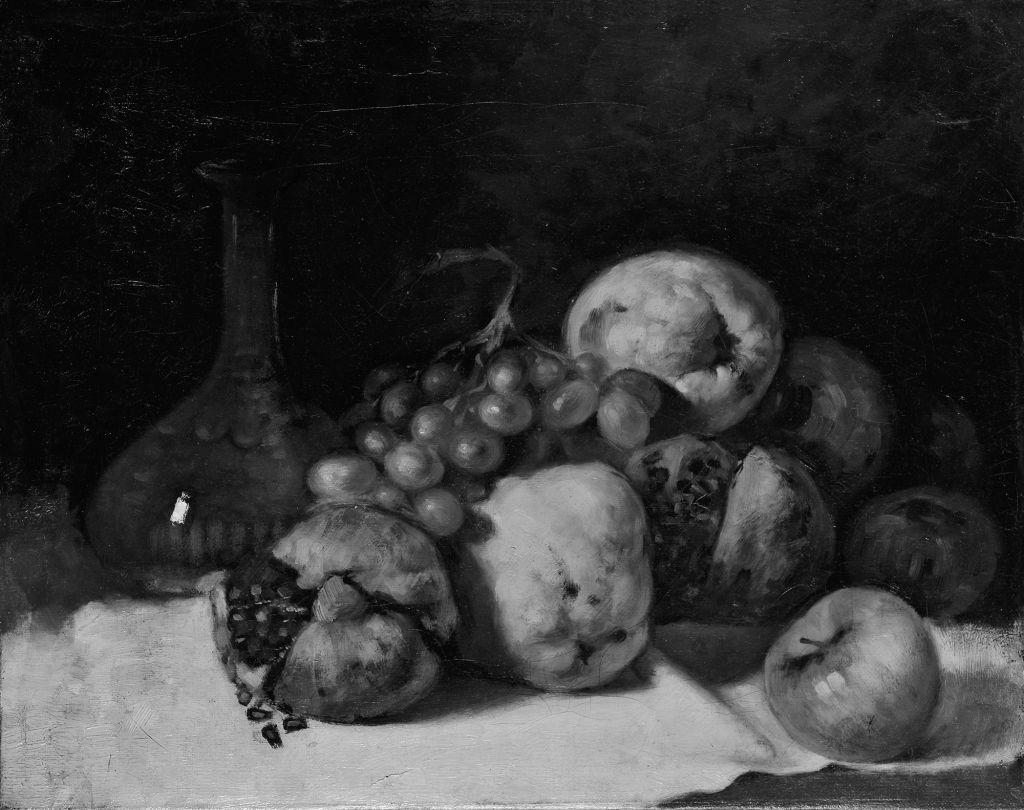 Αναστάσης Στρατάκης, «A state of quinces, pomegranates and apples as defined by the observer Polychronis Lembessis,as defined by the observer Anastasis Stratakis», 2016, γραφίτης και ακρυλική μελάνη σε χαρτί, 38 × 48εκ.