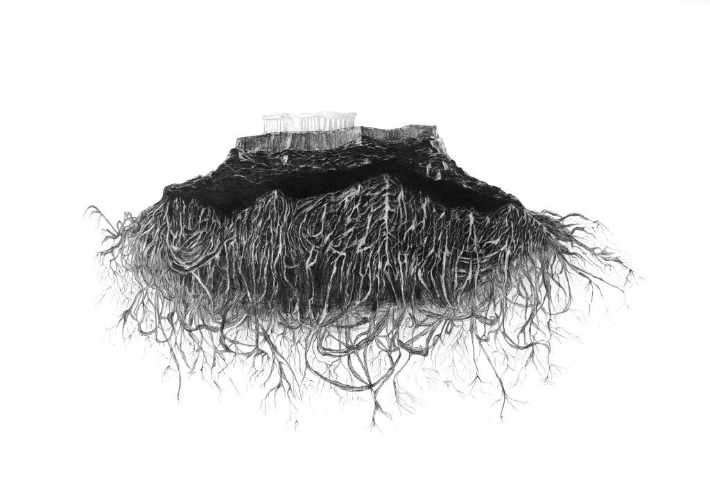 Ένα κρυμμένο, πυκνό δίκτυο από ρίζες (από την πολυμεσική εγκατάσταση «Κήπος Δεδομένων», 2020). Σχέδιο, γραφίτης σε χαρτί,120 x160 εκ