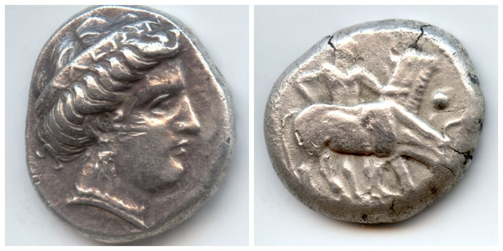 Αριστερά: Στατήρας Ήλιδας του 328 π.Χ | Δεξιά: Οκτάδραχμο του βασιλιά των Ηδονέων Γέτα, γύρω στα 480-460 π.Χ
