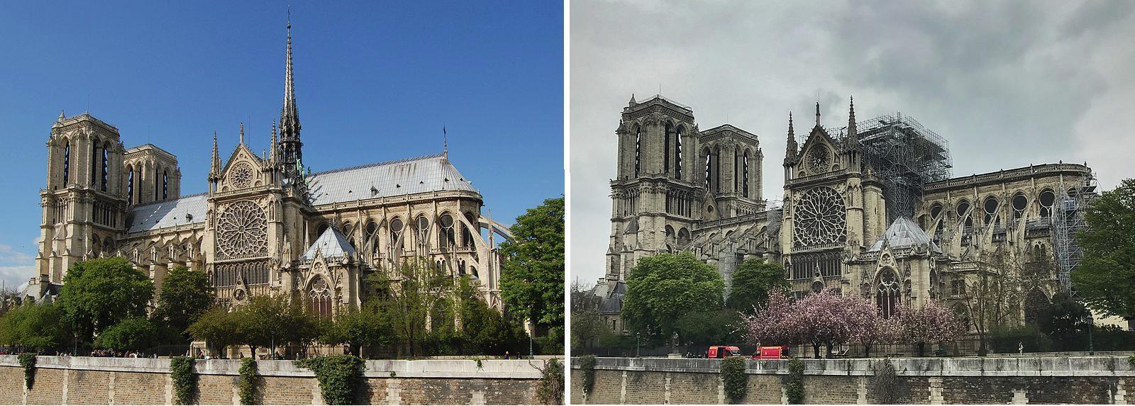 Η Παναγία των Παρισίων πριν και μετά την πυρκαγιά