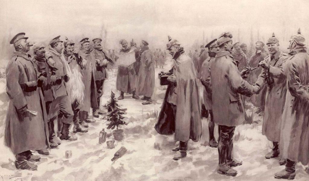 Γερμανοί και Βρετανοί στρατιώτες επιδίδονται σε χαρούμενες συζητήσεις κατά τη διάρκεια της Χριστουγεννιάτικης Ανακωχής του 1914