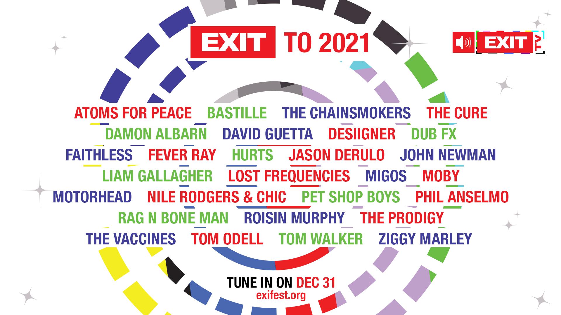 EXIT TO 2021: Παραμονή Πρωτοχρονιάς με το Exit Festival και τα μεγαλύτερα ονόματα της μουσικής σκηνής