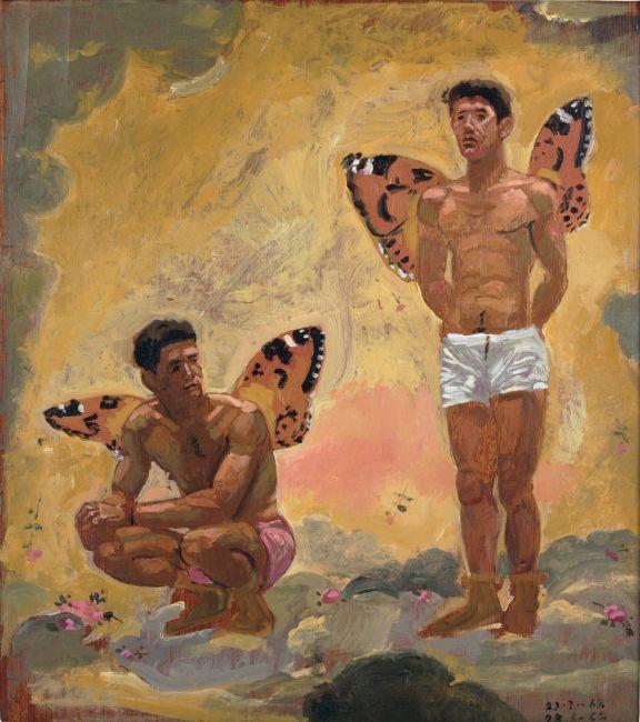 Δύο άντρες με φτερά πεταλούδας, 1968