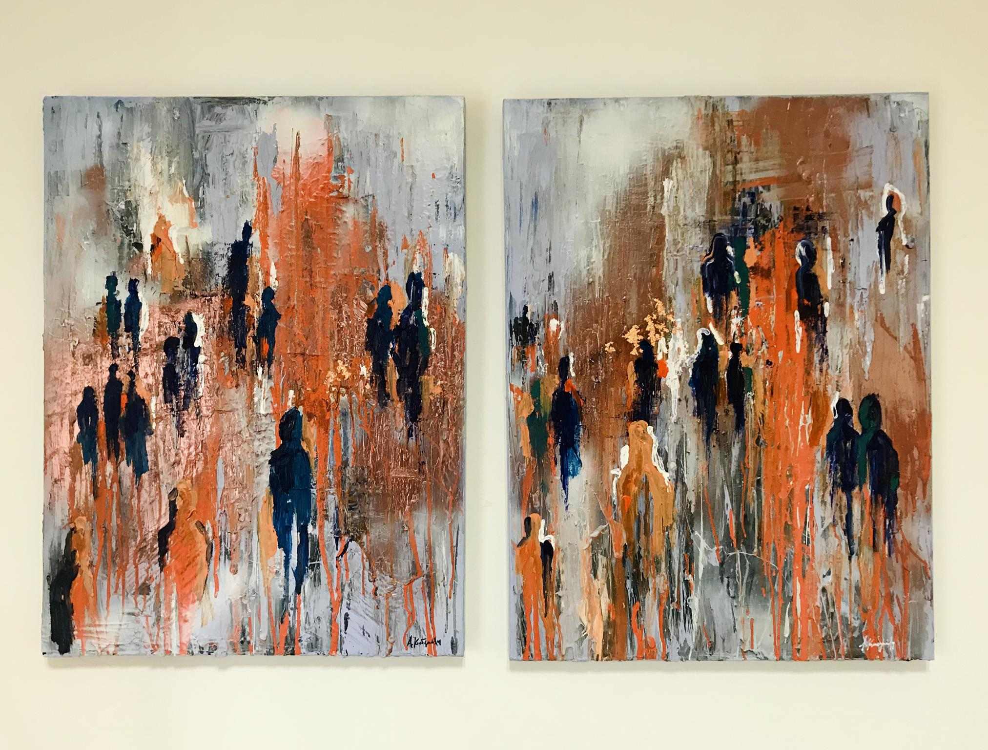 Αλεξία Κουδιγκέλη, Ample, Δίπτυχο, 80x60cm κάθε έργο, Ακρυλικά σε καμβά