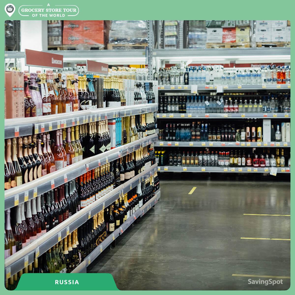 Ο διάδρομος με τα ποτά στην Ρωσία. Φωτογραφία: SavingSpot