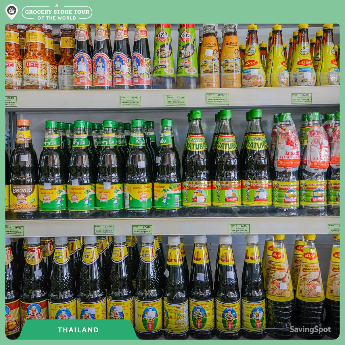 Η μεγάλη ποικιλία σε σάλτσες στην Ταϊλάνδη. Φωτογραφία: SavingSpot