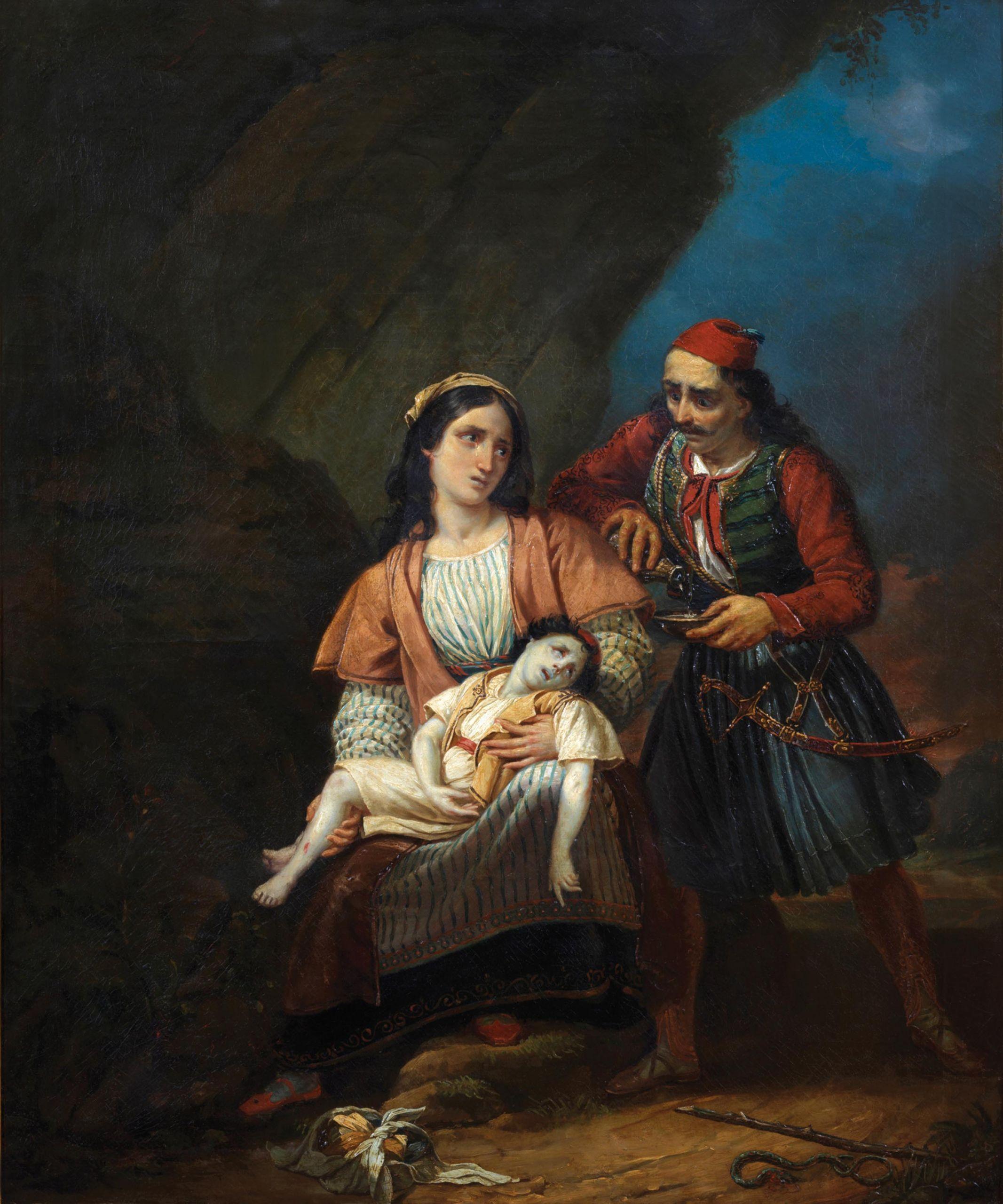Ελληνίδα Μάνα με το νεκρό παιδί της, Αγνώστου, Γαλλικής σχολής, Α' μισό 19ου Αιώνα, Λάδι σε μουσαμά, 83 X 100 εκ., Συλλογή Μιχάλη και Δήμητρας Βαρκαράκη