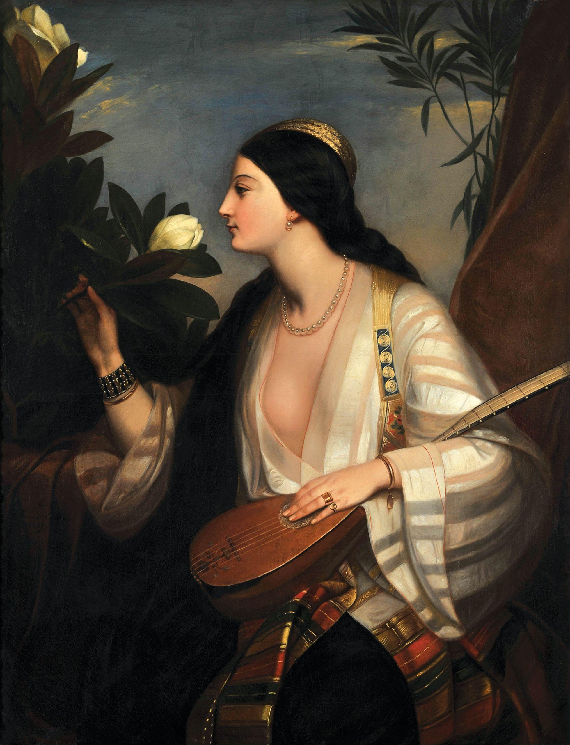 """Ελληνίδα που παίζει λαγούτο, 1847 Charlemagne- OscarGuet (1801-1871), Λάδι σε μουσαμά, 120 X 94 εκ., Ενυπόγραφο, κάτω αριστερά: """"Guet 1847"""", Συλλογή Μιχάλη και Δήμητρας Βαρκαράκη"""