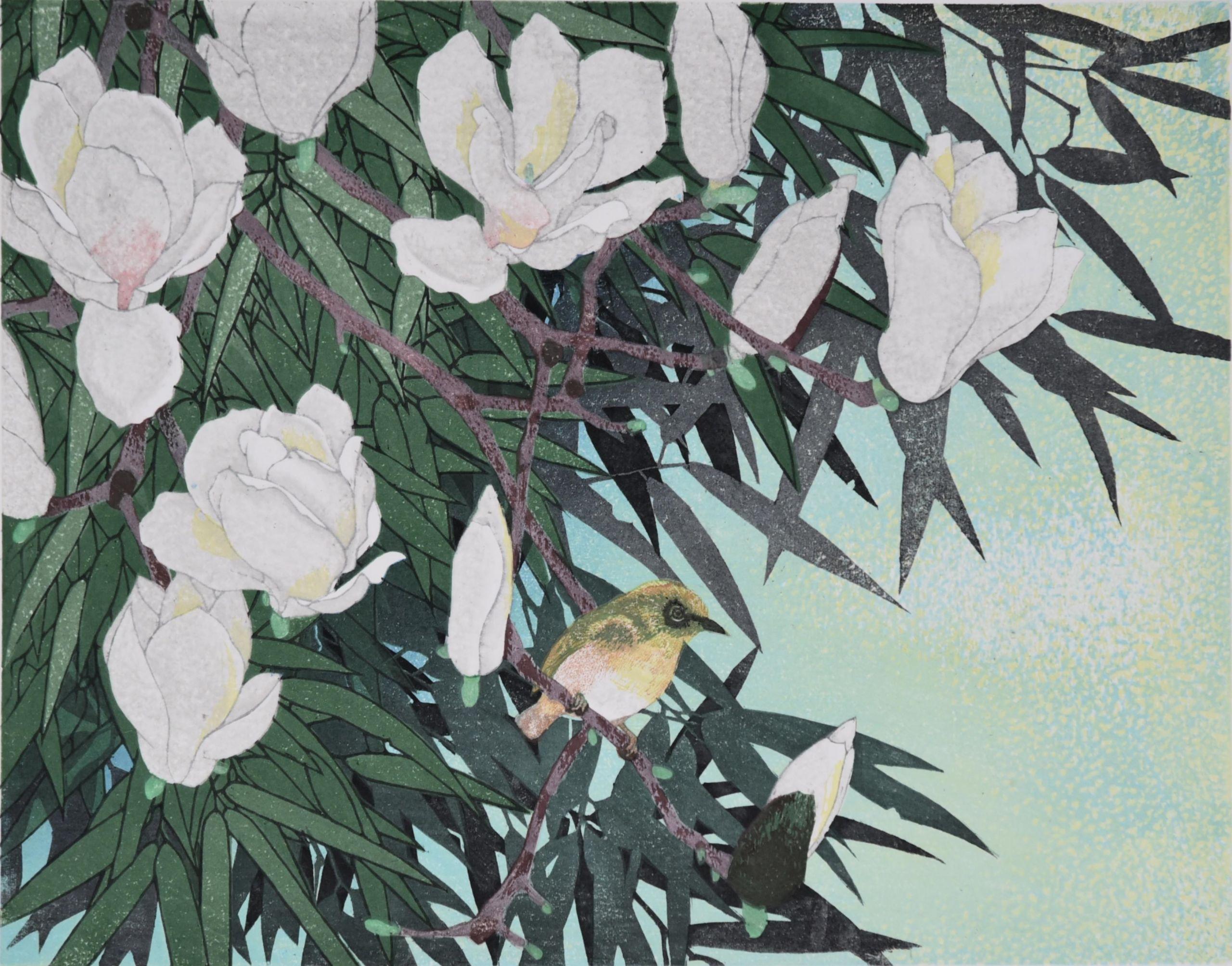 YAMAMOTO Hiromu Λευκή Μανώλια Ξυλογραφία 32x41 εκ.