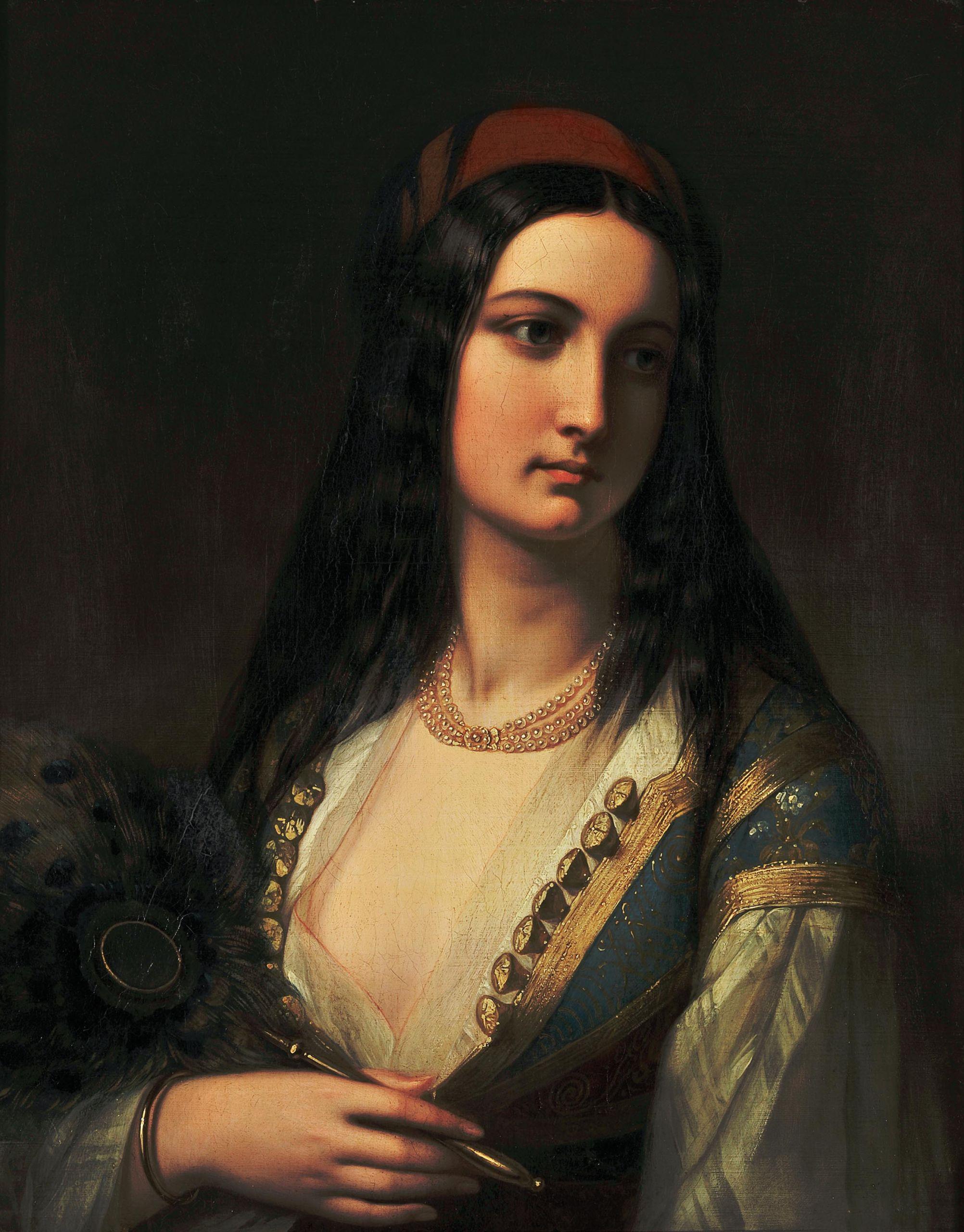 Νεαρή Ελληνίδα με Βεντάλια, Αγνώστου, Γαλλικής σχολής, μέσα 19ουαιώνα, Λάδι σε μουσαμά, 66 X 52 εκ., Συλλογή Μιχάλη και Δήμητρας Βαρκαράκη
