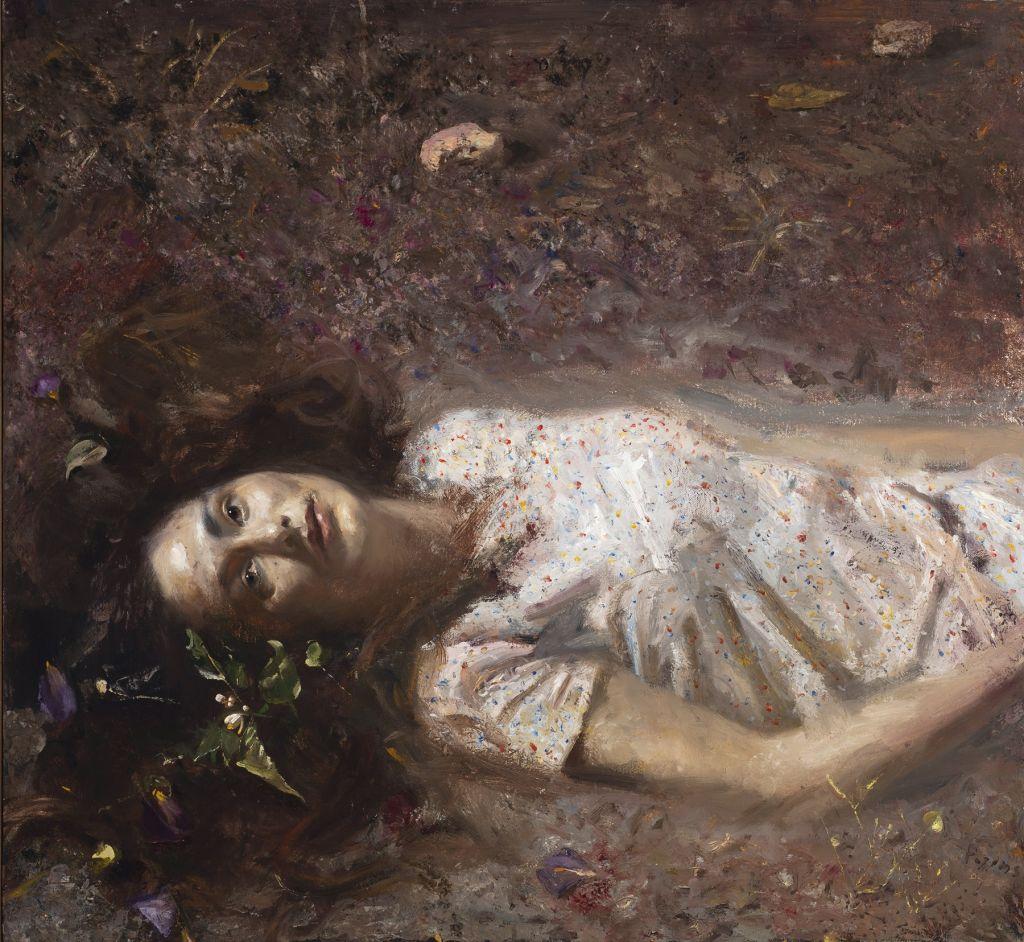 «Γυναίκα ξαπλωμένη στο χώμα», 2018. Λάδι σε καμβά / Oil on canvas, 60 X 65,5 εκ. Συλλογή Μπάμπη Ηλιόπουλου / Babis Iliopoulos Collection | Photo credits @ Χριστόφορος Δουλγέρης / Chris Doulgeris.