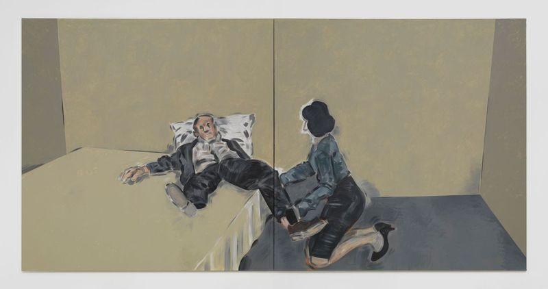 Απόστολος Γεωργίου-  Untitled , 2020 Δίπτυχο , ακρυλικό σε καμβά 230 x 460 εκ . Ευγενική παραχώρηση του καλλιτέχνη και γκαλερί Rodeo , Λονδίνο / Πειραιάς Φωτογραφία Στάθης Μαμαλάκης