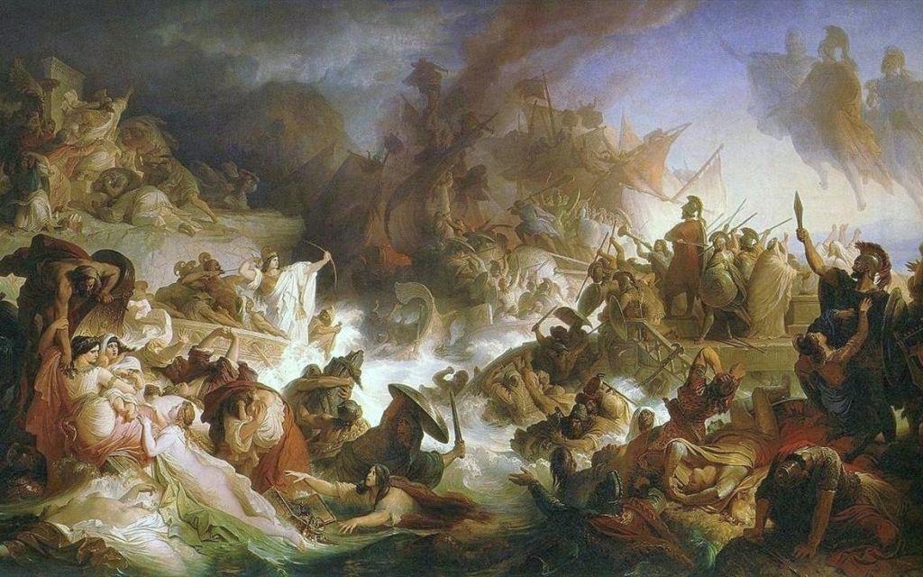 Η Ναυμαχία στη Σαλαμίνα (Die Seeschlacht bei Salamis), του Γερμανού Βίλχελμ φον Κάουλμπαχ (1868)