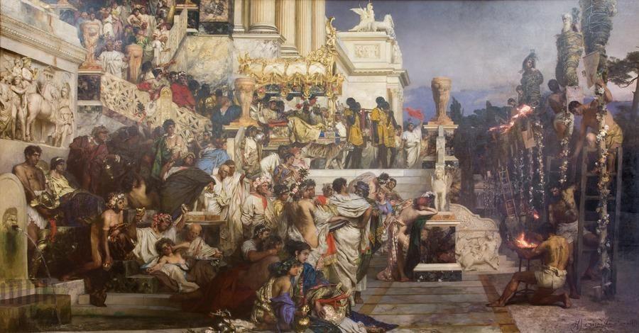 Οι δαυλοί του Νέρωνα. Πίνακας του Χένρυκ Σιμιράντζκι. Φωτογραφία: National Museum in Warsaw