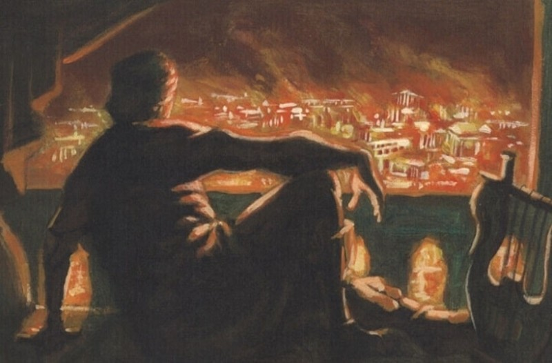 Ο Νέρων με την λύρα του, βλέποντας ατάραχος της καταστροφική πυρκαγιά.