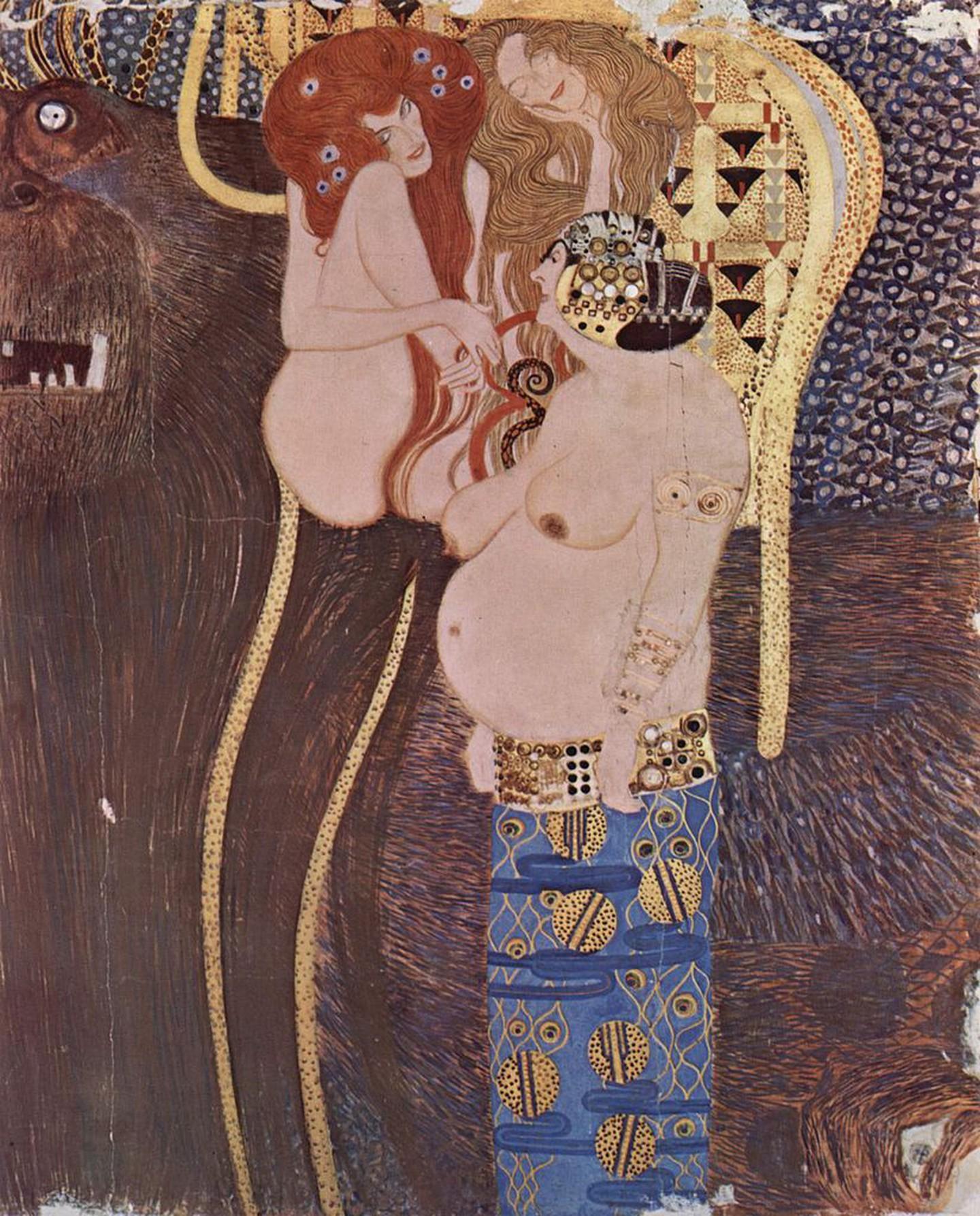 Γκούσταφ Κλιμτ, Λεπτομέρεια από τη Ζωφόρο του Μπετόβεν, 1902. Φωτογραφία: Österreichische Galerie Belvedere/WikiCommons