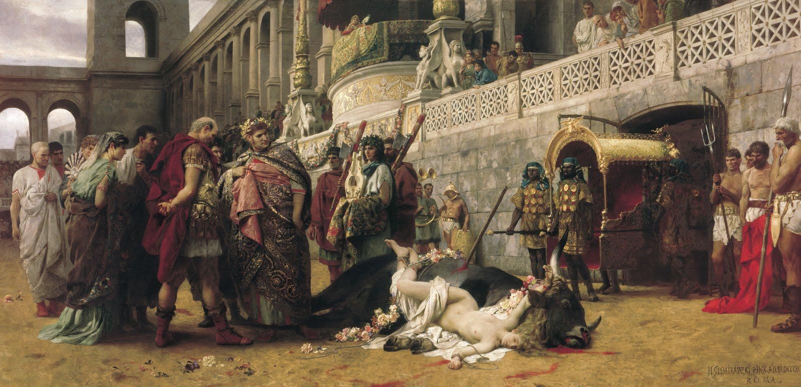 Ο Νέρων ρίχνει την χριστιανή Δίρκη στα θηρία. Πίνακας του Χένρυκ Σιμιράντζκι. Φωτογραφία: National Museum in Warsaw