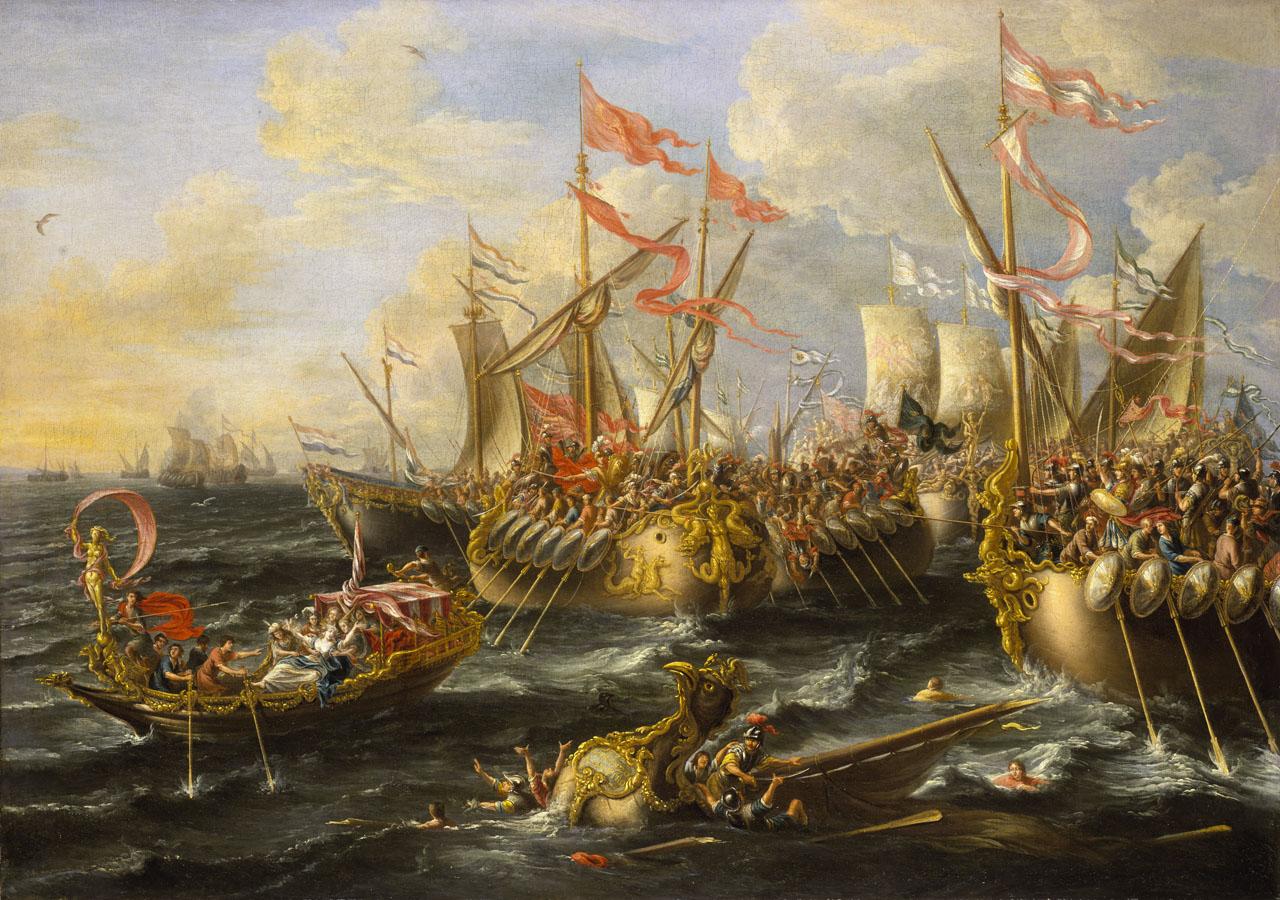 Η ναυμαχία στο Άκτιο, πίνακας του Lorenzo A. Castro