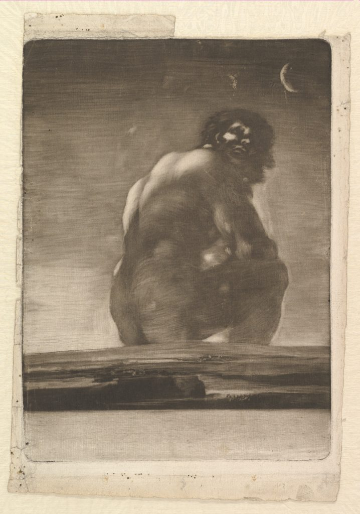 Φρανθίσκο Γκόγια, Καθισμένος Γίγαντας, (1814–18). Courtesy of the Metropolitan Museum of Art.