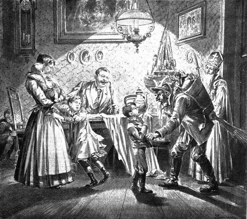 Ο Κράμπους και ο Άγιος Νικόλαος επισκέπτονται Βιεννέζικο σπίτι, 1896. Photo Credits: Wikimedia Commons
