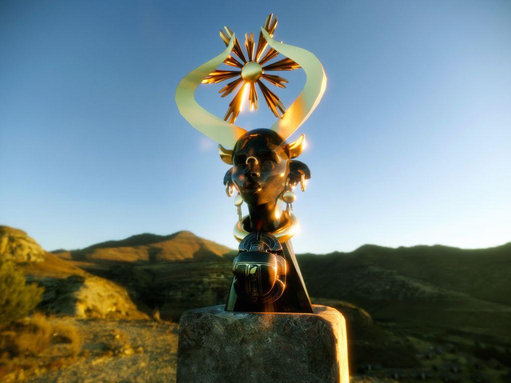 Olalekan Jeyifous, 12 Encounters (μέρος I), 2021. «Χάθορ». Γλυπτά επαυξημένης πραγματικότητας. Εφαρμογή. Παραχώρηση του καλλιτέχνη. Ανάθεση και παραγωγή της Μπιενάλε της Αθήνας. Powered by Akular.