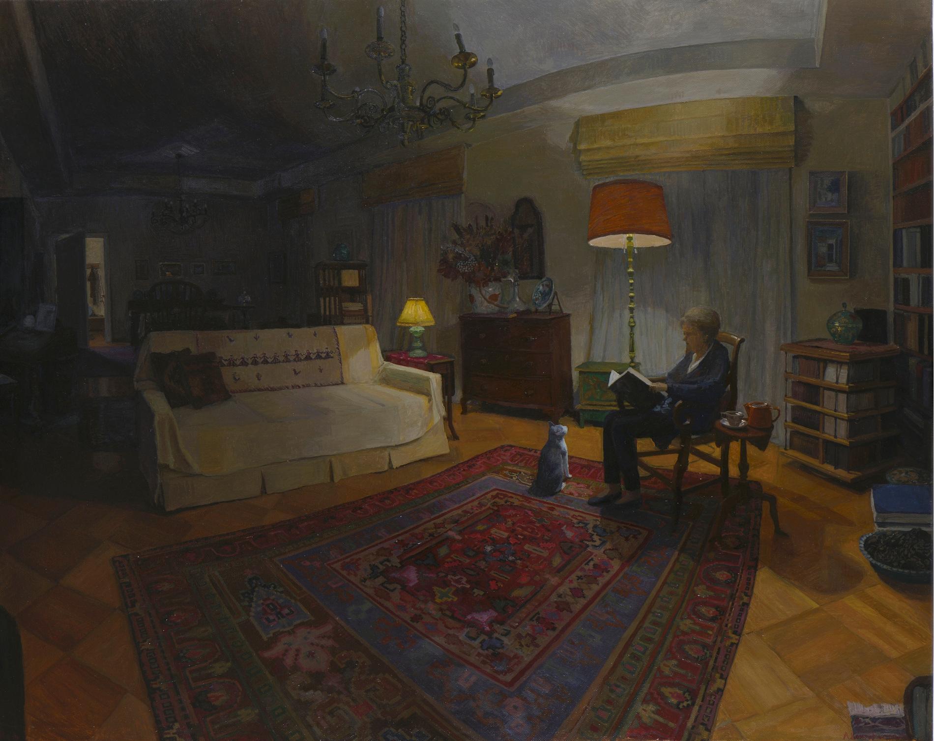 Στο σπίτι του Γιώργου Σεφέρη: Μεγάλο νυχτερινό εσωτερικό , 95Χ120 εκ., λάδι σε καμβά, 2018, Συλλογή της Καλλιτέχνιδας, Αθήνα. E υγενική παραχώρηση της Γκαλερί Citronne