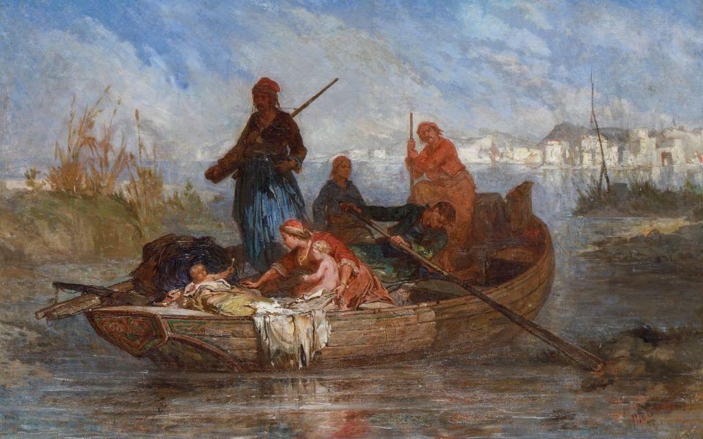 Jean Michel-Mercier (1786-1874), «Πρόσφυγες από το Μεσολόγγι», Γύρω στο 1830 Λάδι σε καμβά, 37X58 εκ, Μουσείο Μπενάκη