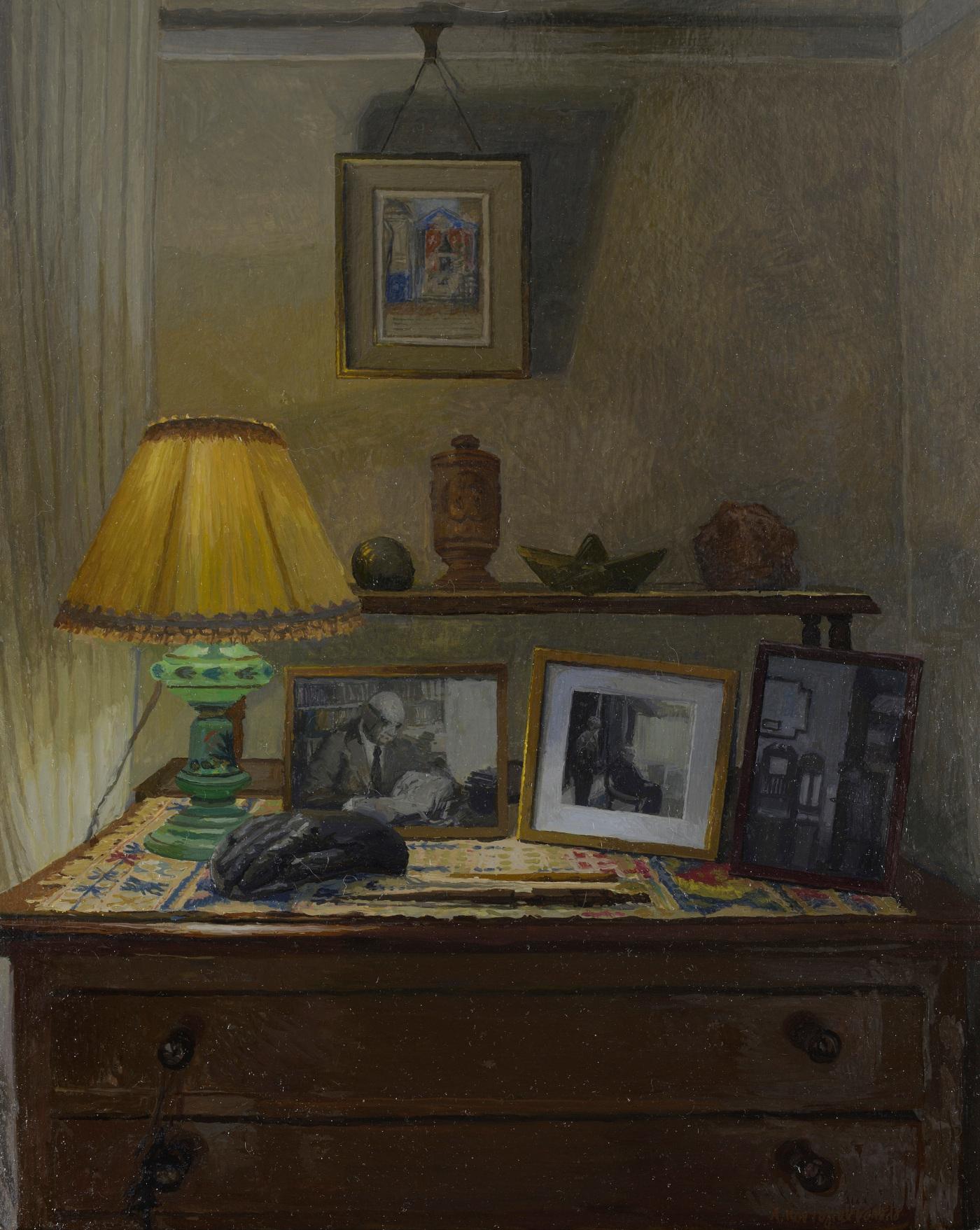 Στο σπίτι του Γιώργου Σεφέρη: Νυχτερινή σύνθεση , 38Χ30 εκ., λάδι σε χαρτόνι, 2019, ιδιωτική συλλογή , Αθήνα .