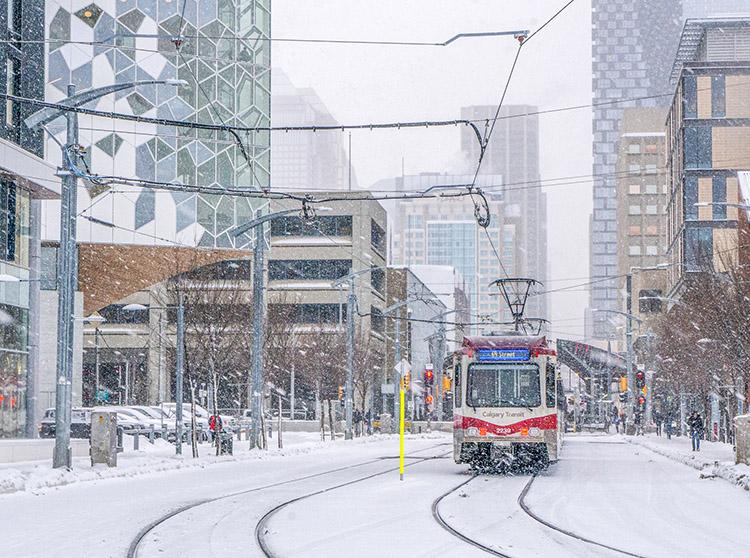 Helen DuWors, Canada, Calgary Train in Snowstorm