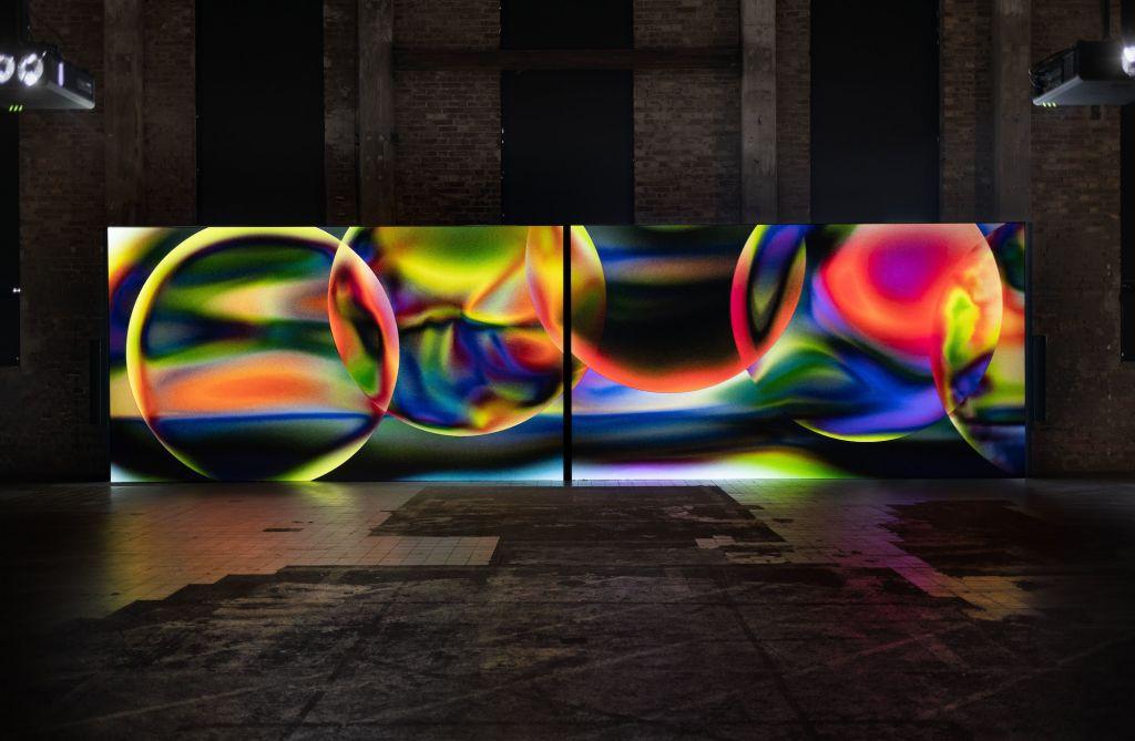 Metahaven, Hometown (2018), 31', two-channel film work, color, sound. Installation view at Röda Sten Konsthall, Gothenburg, 2020